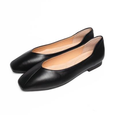 KOKKO超彈力方頭柔軟羊皮寬版芭蕾舞平底鞋經典黑