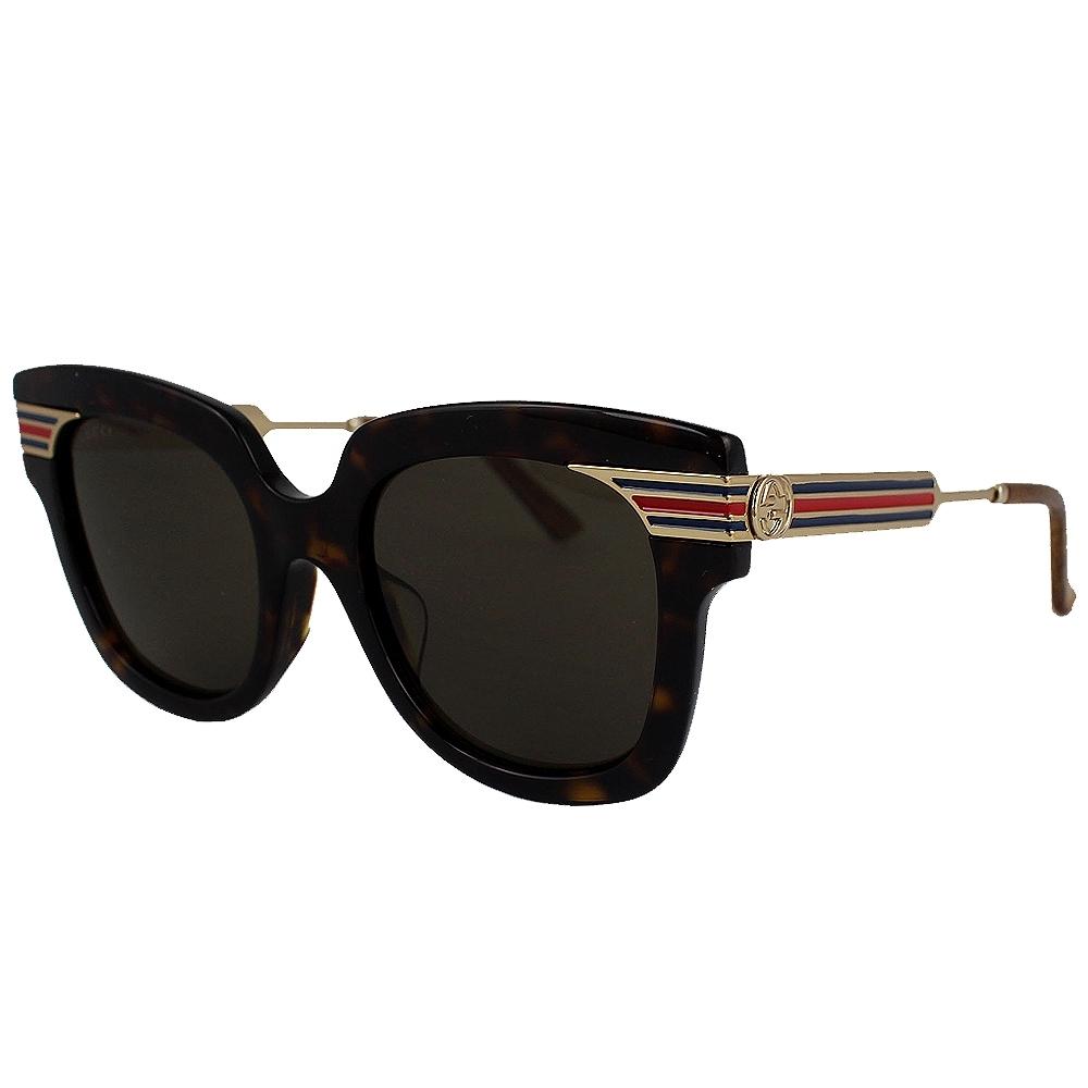 GUCCI 黑框琥珀色綠紅標誌太陽眼鏡