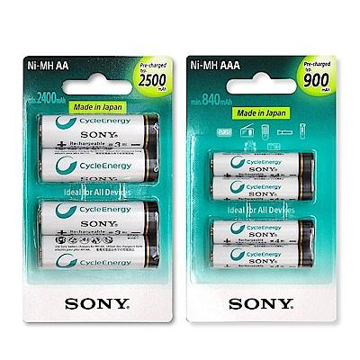 SONY低自放充電電池組(3號2500mAh+4號900mAh各4顆)