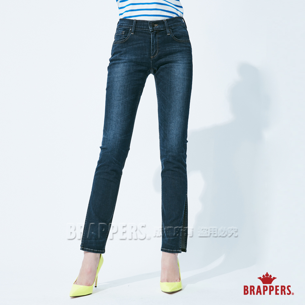 BRAPPERS 女款 新美腳 ROYAL系列-彈性中低腰開衩直筒褲-藍