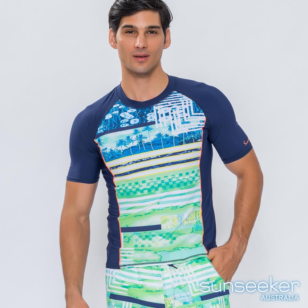 澳洲Sunseeker泳裝男士時尚印花短袖衝浪泳衣上衣-渲染綠
