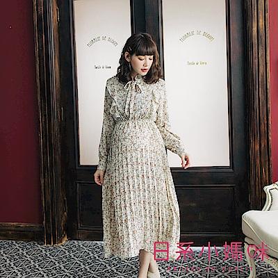 日系小媽咪孕婦裝-孕婦裝 浪漫小花束領結縮腰洋裝