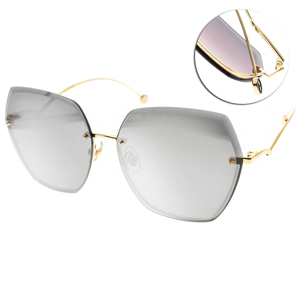 MOLSION 多邊水銀太陽眼鏡 金-白淺水銀 #  MS7067 B61