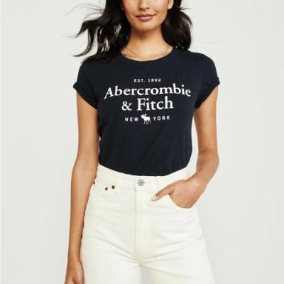 麋鹿 AF A&F 年度熱銷經典文字大麋鹿短袖T恤(女)-深藍色