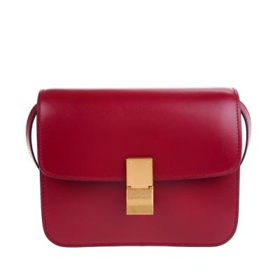 CELINE 新款TEEN CLASSIC BOX 頂級小牛皮金釦肩背/斜背包 (紅色)