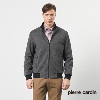 Pierre Cardin皮爾卡登 男裝 都會休閒仿毛緹花舖棉厚夾克外套-深灰(5205761-97)