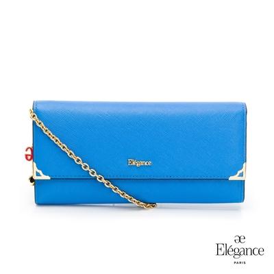 【Elegance】LIVELY 十字紋2WAY長夾-藍色