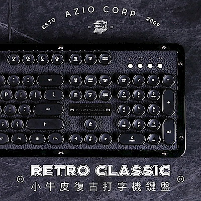 AZIO RETRO CLASSIC ONYX 小牛皮復古打字機鍵盤