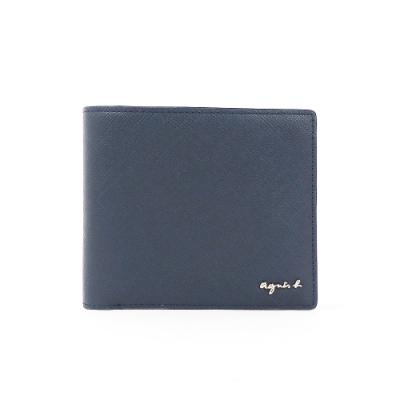 agnes b. Voyage 防刮皮革零錢格短夾 (深藍)
