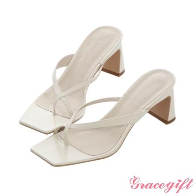 Grace gift X Annie-聯名全真皮交叉夾腳中跟涼拖鞋 奶油米白