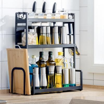 【HappyLife】50cm三層廚房收納架+刀架+砧板架 50×22×61.5CM