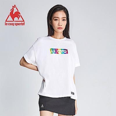 le coq sportif 法國公雞牌COQ系列精緻字母印花純棉短袖T恤 女-白