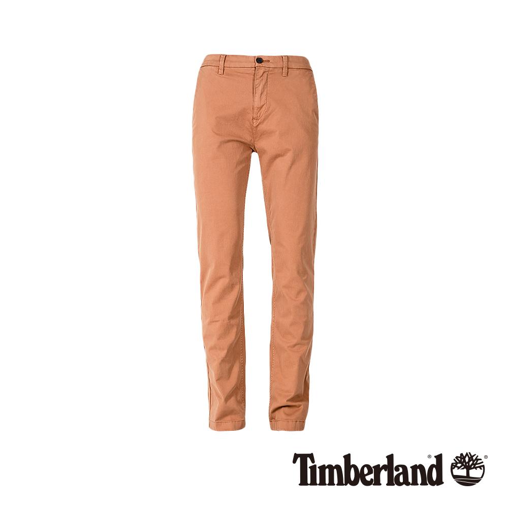 Timberland 男款紅棕色修身彈性休閒褲|A1V6Y