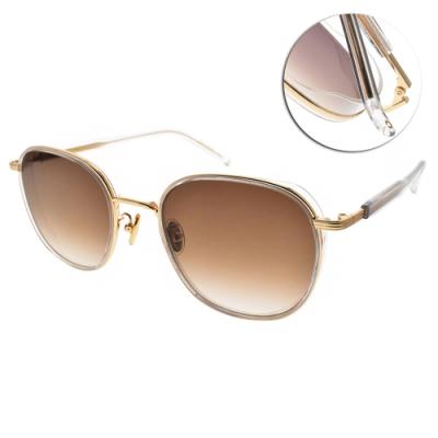 NINE ACCORD太陽眼鏡  韓系簡約設計款/透明-金-漸層棕鏡片#KISSING MARTE C3