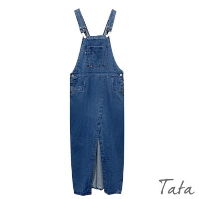 胸前口袋開岔吊帶牛仔洋裝 TATA-F