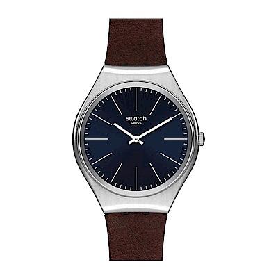 Swatch 超薄金屬系列 SKINOUTONO淡棕手錶