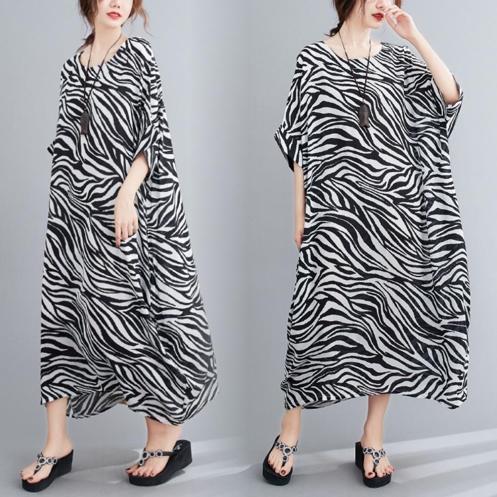 摩登時尚斑馬紋寬鬆舒適連身洋裝F-Keer
