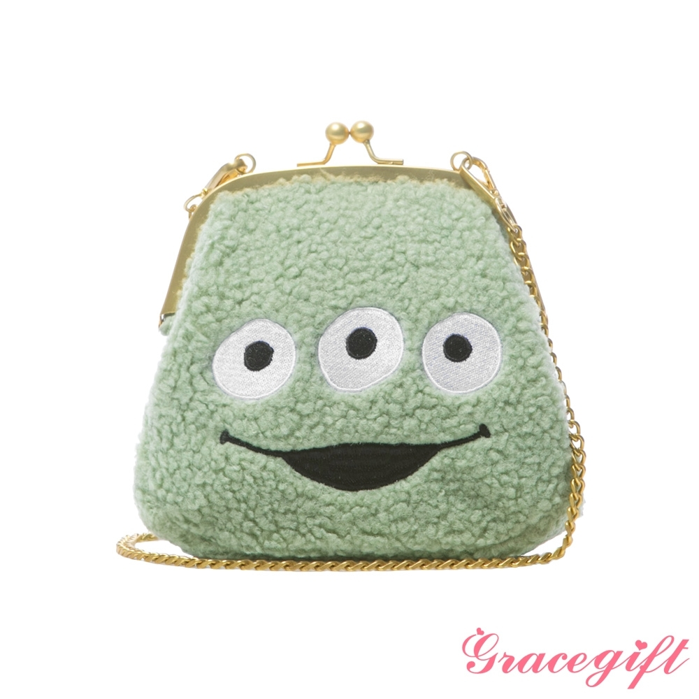 Disney collection by gracegift-玩總三眼怪Q毛口金鍊條包 綠