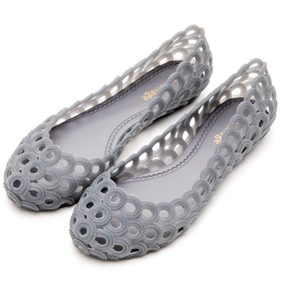 River&Moon防水鞋-晴雨二穿超Q軟鳥巢洞洞娃娃鞋-灰藍
