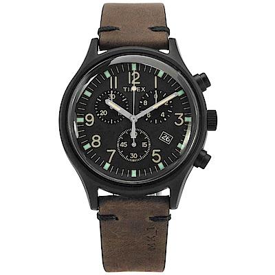 TIMEX 天美時 INDIGLO專利照明三眼計時真皮手錶-黑x深褐/ 42 mm