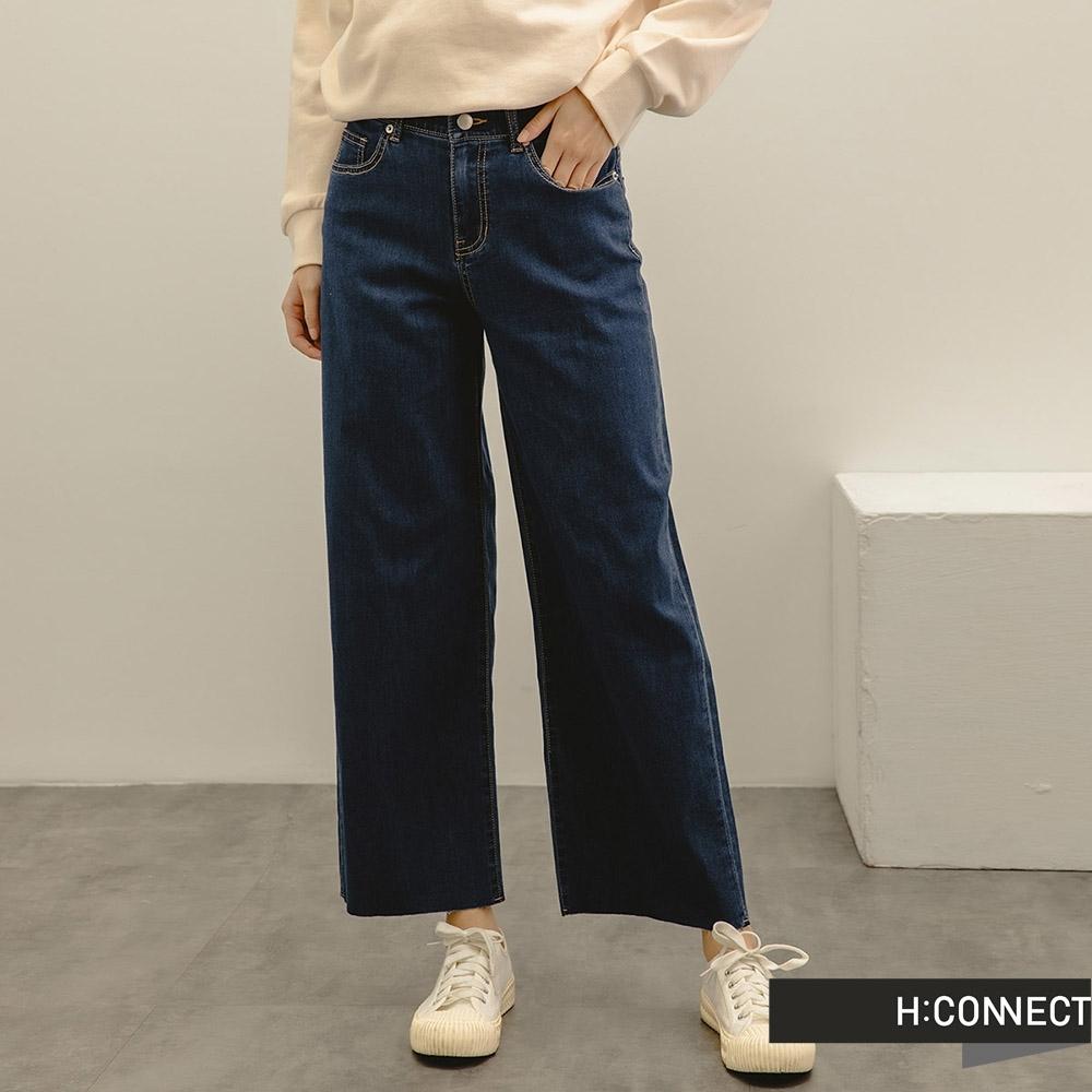 H:CONNECT 韓國品牌 女裝 -率性不收邊Wide牛仔寬褲-深藍色