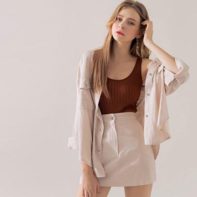 AIR SPACE 棉料排釦襯衫褲裙套裝(杏)
