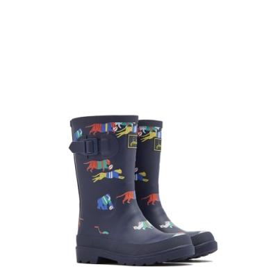 英國【Joules】深藍動物競賽雨靴