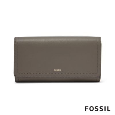 FOSSIL LOGAN 三折真皮拉鍊RFID長夾-大象灰 SL7833046