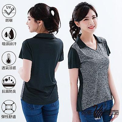 【遊遍天下】MIT女款吸濕排汗抗UV機能POLO衫GS10028灰黑