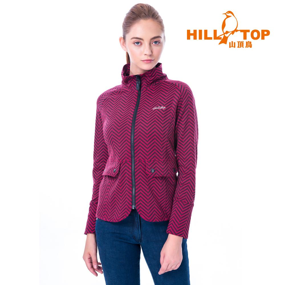 【hilltop山頂鳥】女款保暖緹花刷毛外套H22FU3擬粉色