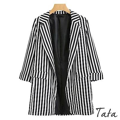 摩登九分袖條紋西裝外套 TATA