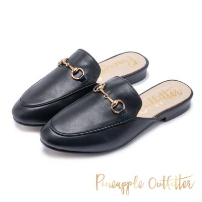Pineapple Outfitter 模特推薦 馬銜扣真皮平底穆勒鞋-黑色