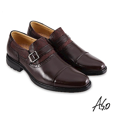 A.S.O職場通勤 3D超動能異材時尚孟克紳士鞋-咖啡