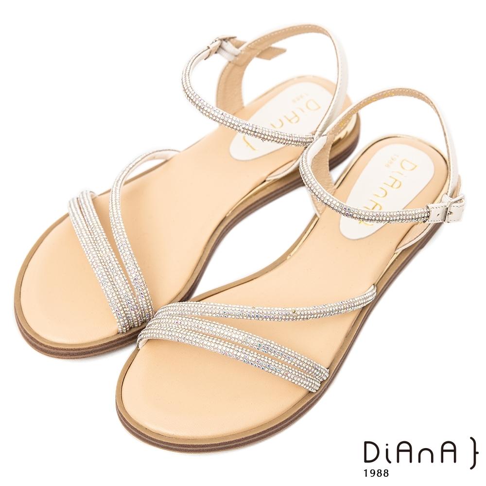 DIANA閃耀水鑽牛皮2.5公分細帶圓頭低跟S勾繫帶涼拖鞋-夏日百搭–米
