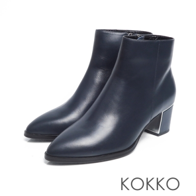 KOKKO - 天邊漫遊素面牛皮尖頭短靴 - 經典藍
