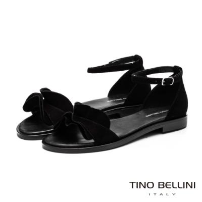 Tino Bellini啞光絨面荷葉邊平底涼鞋_黑