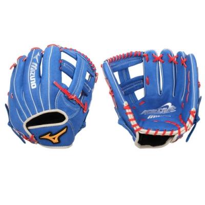 MIZUNO 壘球手套-內野手用-右投 美津濃 訓練 棒球 十字 1ATGS20900-22 藍紅