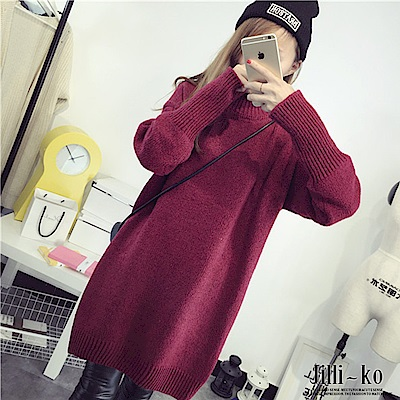 Jilli-ko 韓版高領加厚打底針織衫-紅/藍