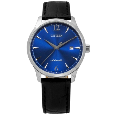 CITIZEN 限量款 機械錶 自動上鍊 日期顯示 小牛皮壓紋手錶-藍x黑/40mm