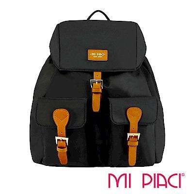 MI PIACI-PANDORA系列雙口袋翻蓋後背包黑色-1880504