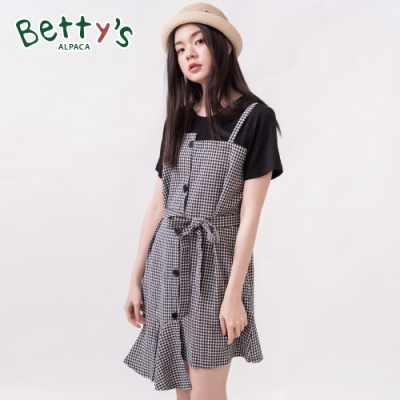 betty's貝蒂思 格紋拼接圓領假兩件洋裝(黑色)