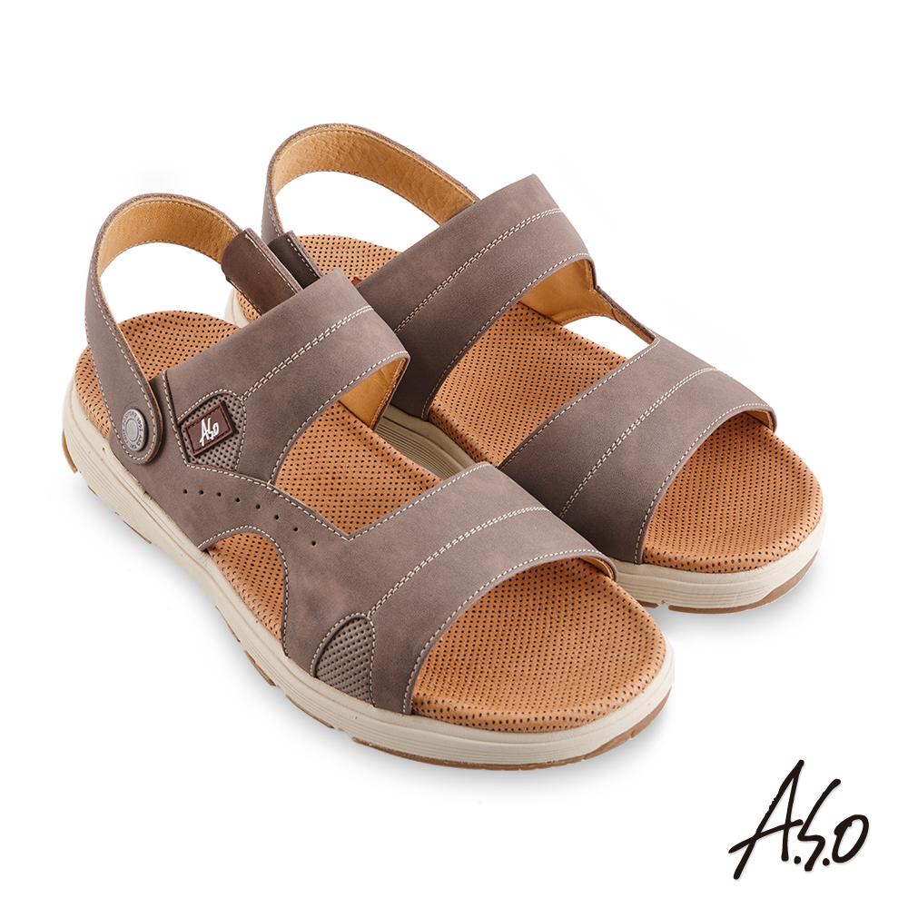 A.S.O 機能休閒 輕量樂活涼拖雙穿男涼鞋-橄欖綠