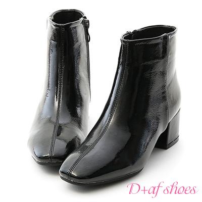 D+AF 摩登潮流.素面漆皮方頭中跟短靴*黑