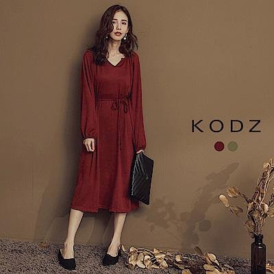 東京著衣-KODZ 簡約美學氣質綁帶傘襬洋裝-S.M.L(共二色)