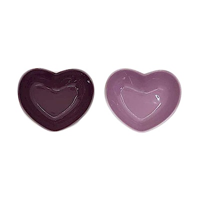 LE CREUSET 瓷器心型盤(小) 2入(深野莓紫)