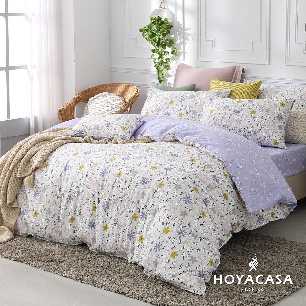 HOYACASA 100%精梳棉單人兩用被床四件式包組-蜜境花園(天絲入棉30%)