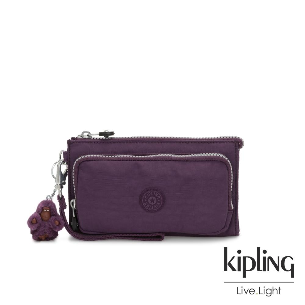 Kipling 低調奢華深紫色多功能夾層手拿包-DREAMY