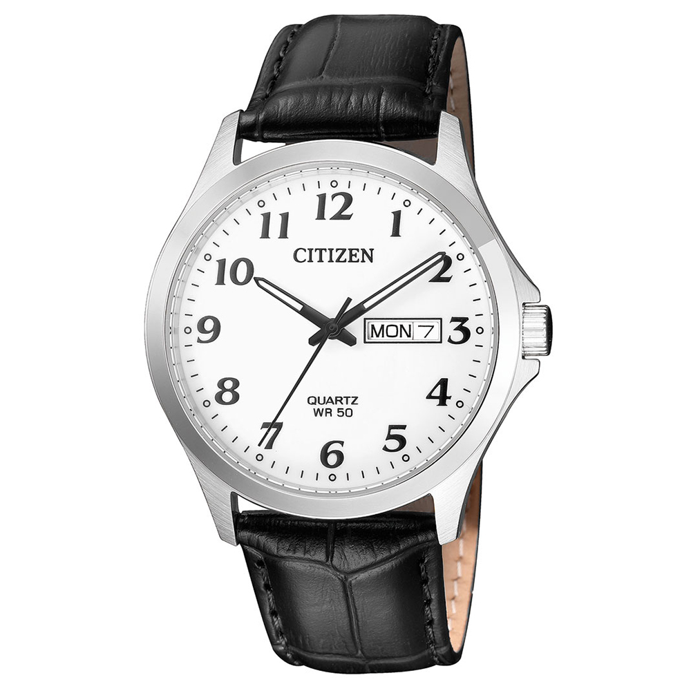 CITIZEN 簡約時計夜光石英腕錶(BF5000-01A)-白x37.5mm