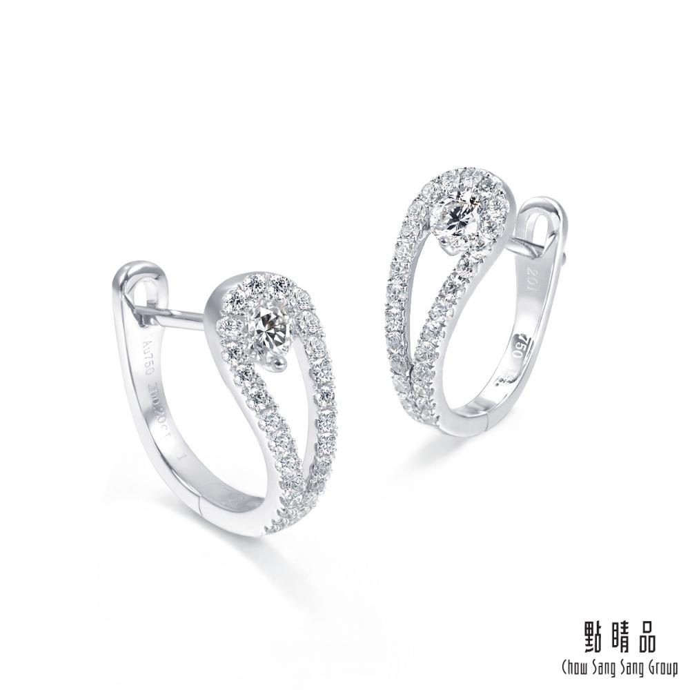 點睛品 49分 優雅水滴18K金閃耀鑽石耳環