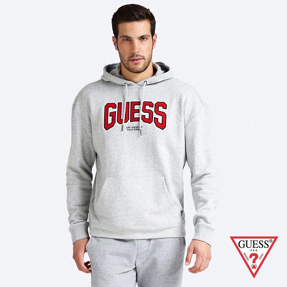 GUESS-男裝-LOGO印花連帽長袖上衣-灰 原價2790